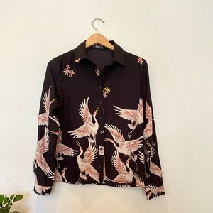 Crane and floral button up